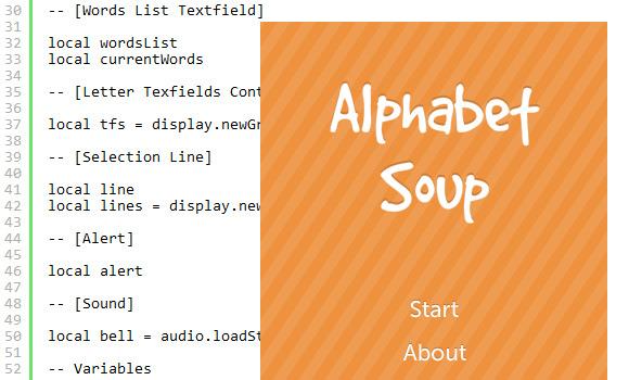 Corona SDK: Create an Alphabet Soup Game