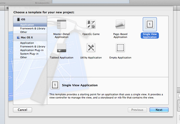 New Xcode Project template iOS iPhone iPad