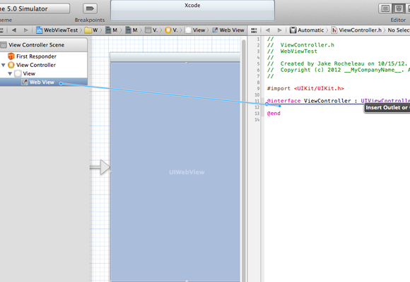 Xcode4 connect ViewController header outlet IBOutlet