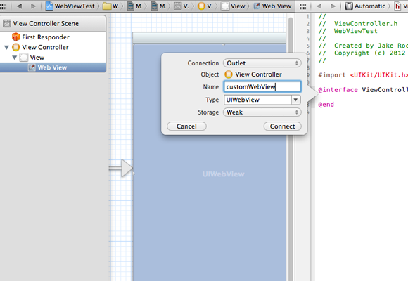 Objective-C synthesize property ivar variables connection dialog Xcode