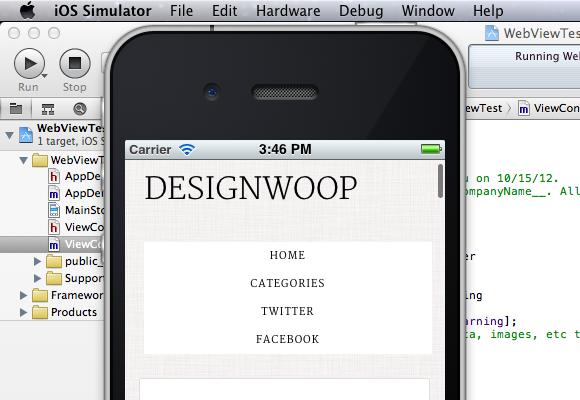 Building app run simulator iPhone UIWebView tutorial