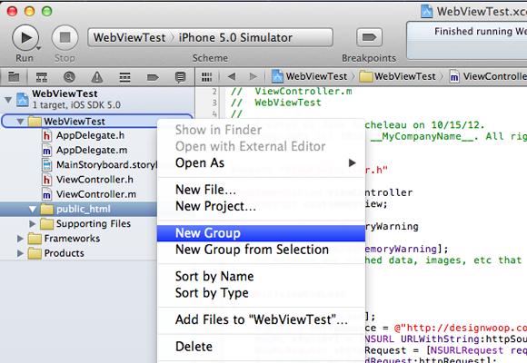 Project navigator create new group folder dialog