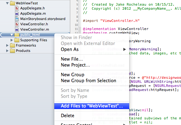 Xcode add files project dialog window group folders