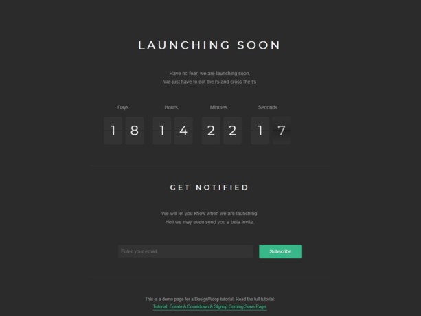 Coming Soon Page