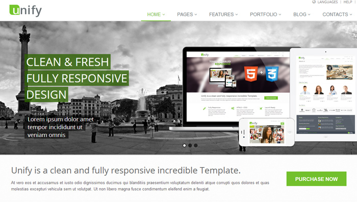 white unify responsive bootstrap template ui