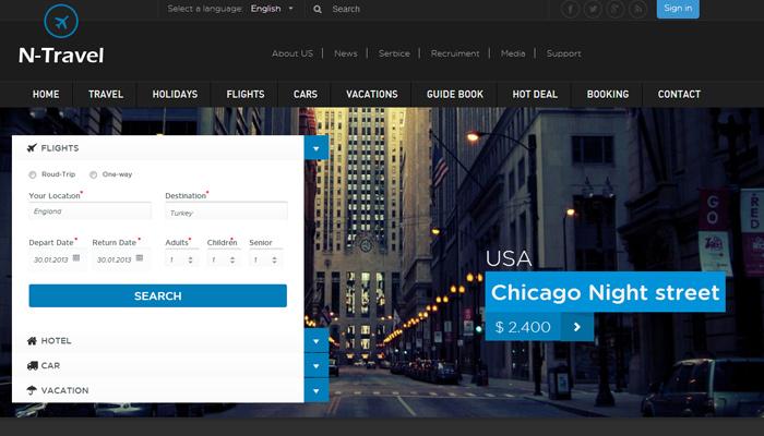 ntravel html5 bootstrap theme design v3 premium
