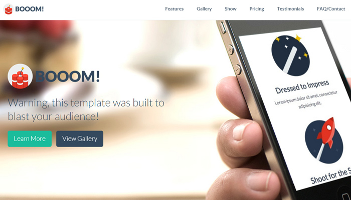 booom flat ui pro bootstrap3 one page template
