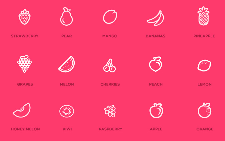 pink juicy fruit thin icons design