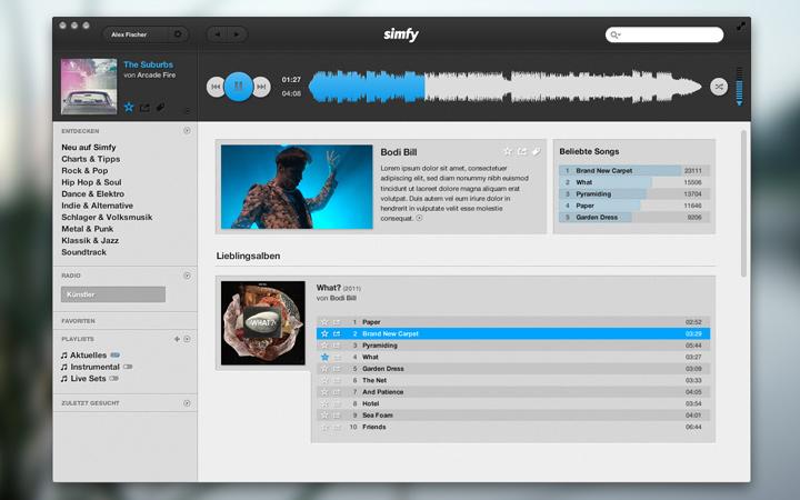 mac osx app redesign simfy music