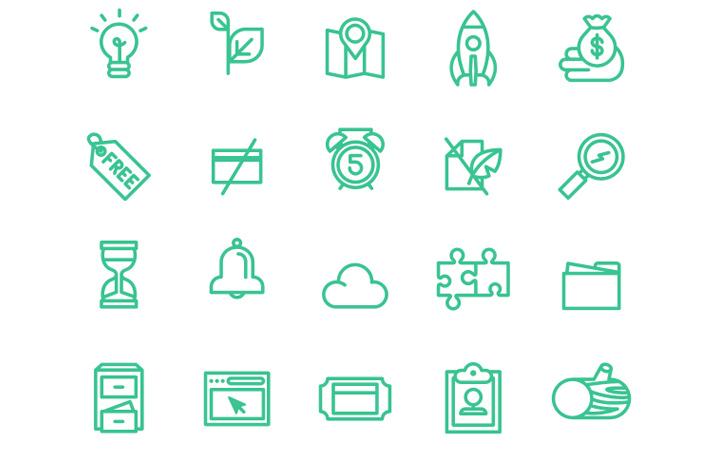 money credit green line icons