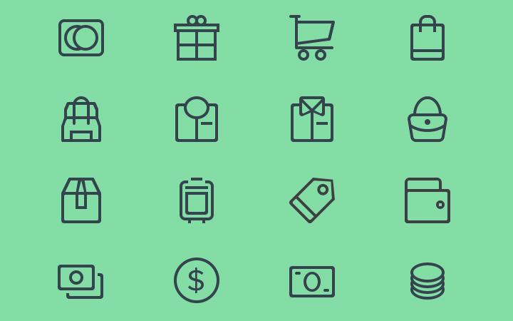 budicon line icons ecommerce set