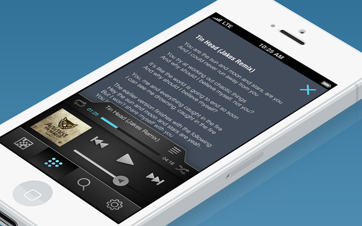 user interface white iphone music audio player