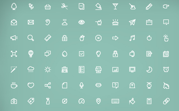 white simple small line icons pack