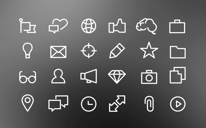 white outline icons interface