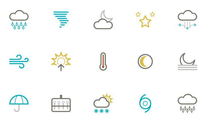symbolicons elements weather line icons simple