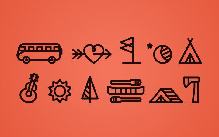 wedding in the woods line icons pack