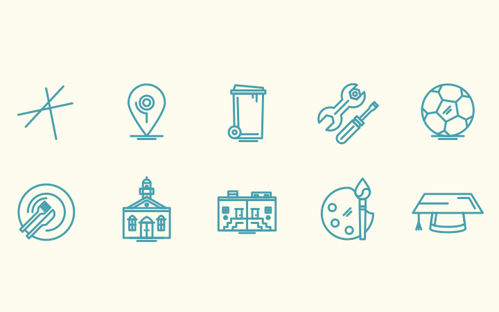 editorial bright line icons pack