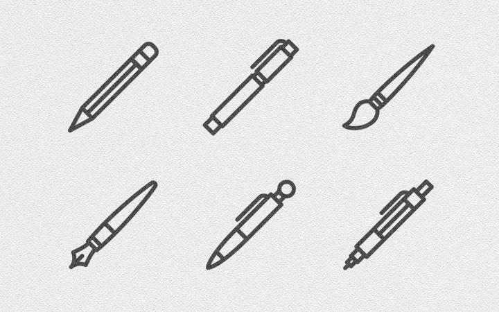 simple licons line icons pens pencils