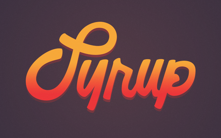 bright orange syrup fancy lettering logo