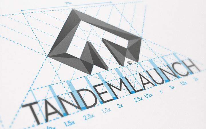 tandem launch geometry logo design shapes
