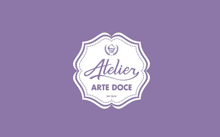 atelier candy cupcakes design purple logo