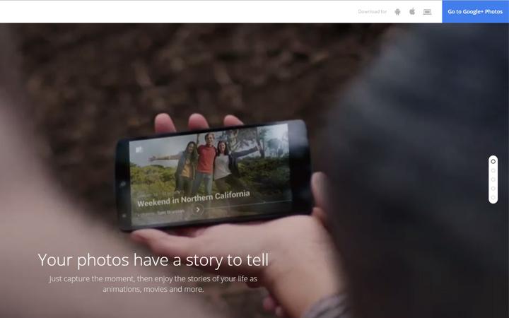 google photos ui homepage design fullscreen