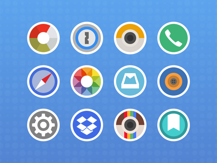 rounded sticker icons flat colorful