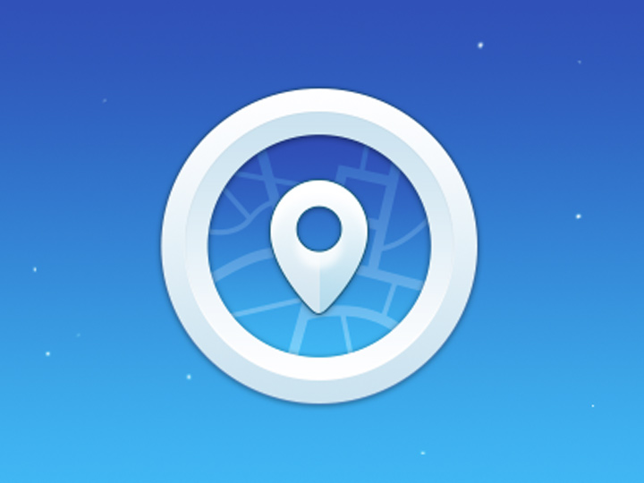 blue glossy pin icon circular