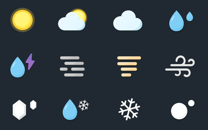 simple weather glyphs iconset