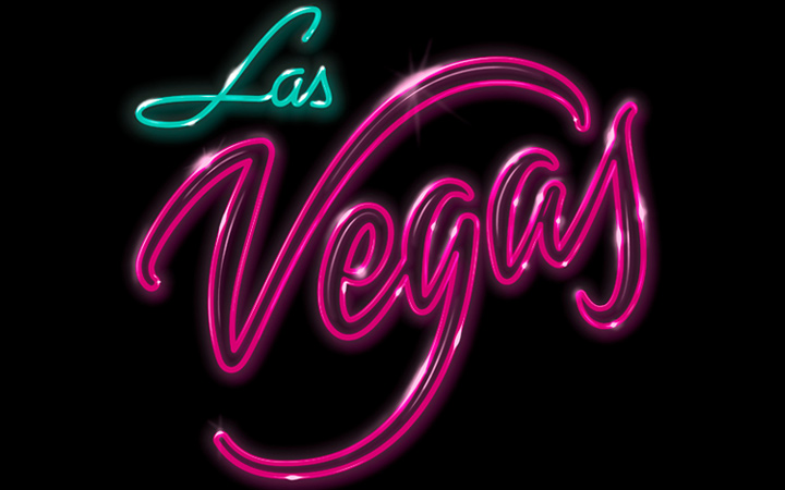 las vegas typography neon text