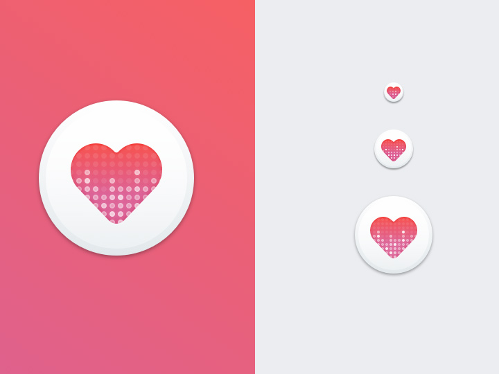 pink heart circile white design icon