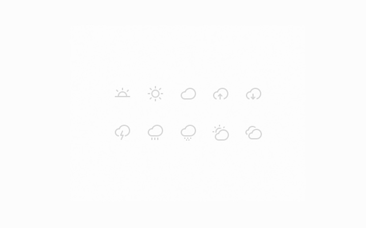 clean thin weather icons ios