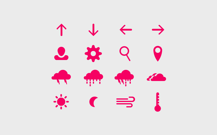 flat hot pink weather icons