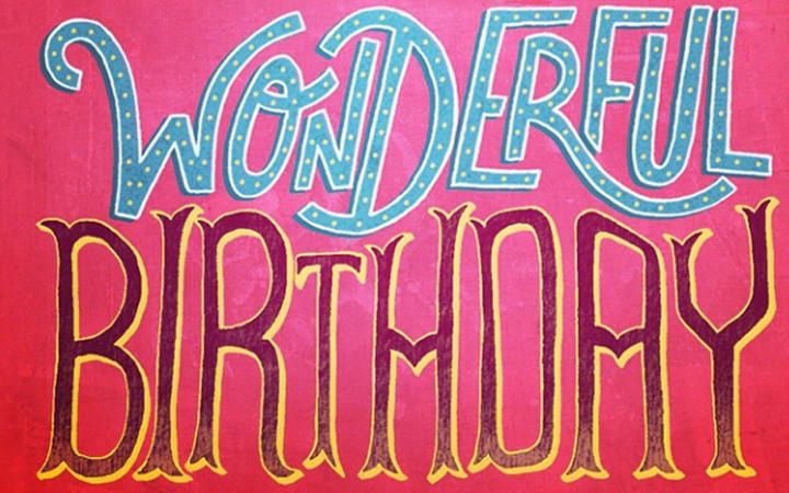 thin line lettering typography birthday