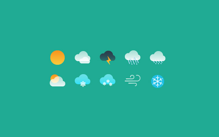 basic weather icons simple gradiets