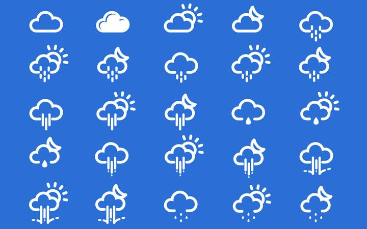 weather climate icons thin white design minimalist