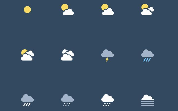 simple template sun rain weather icons