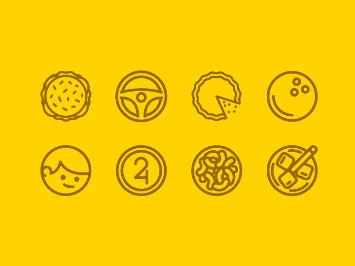 thin birthday yellow line icons