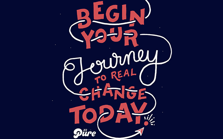 begin your journey lettering typography