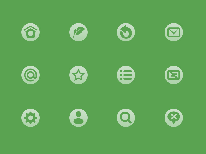 circular mini green icons iconset