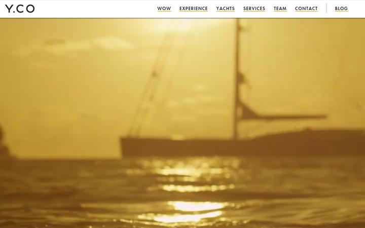 fullscreen minimalist video background yacht company