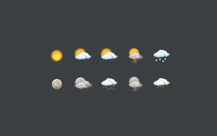 gui kit set icons basic weather app
