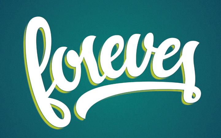 forever cursive script writing design