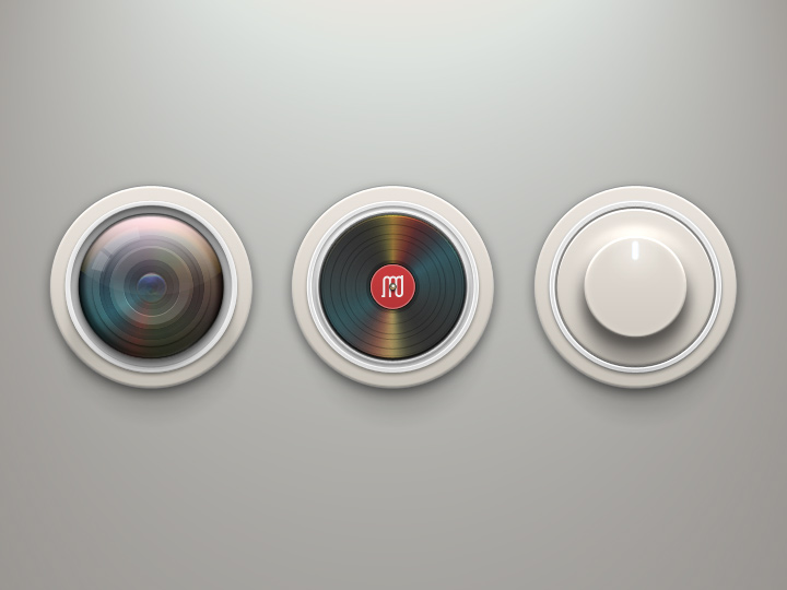 turntable iconset music realistic icons circular