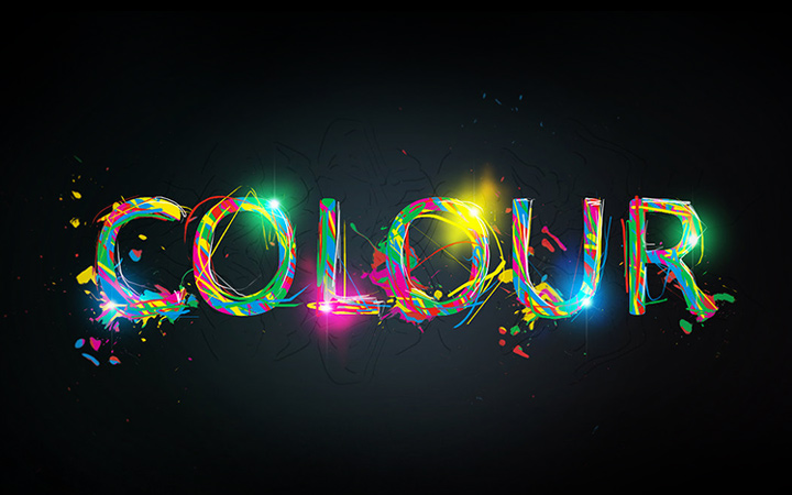 digital colour sparkling effect typography