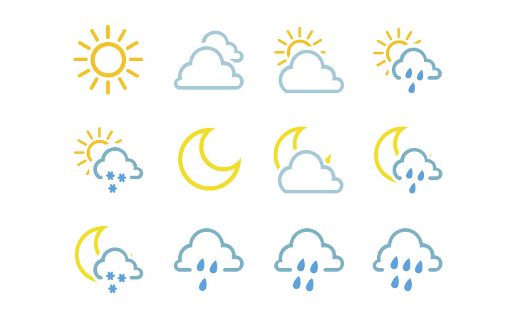 nature thin line icons weather colorful
