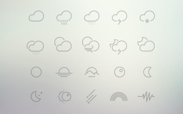 dark outline icons weather pack freebie
