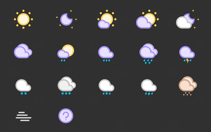 circular cute clean weather iconset inspiration