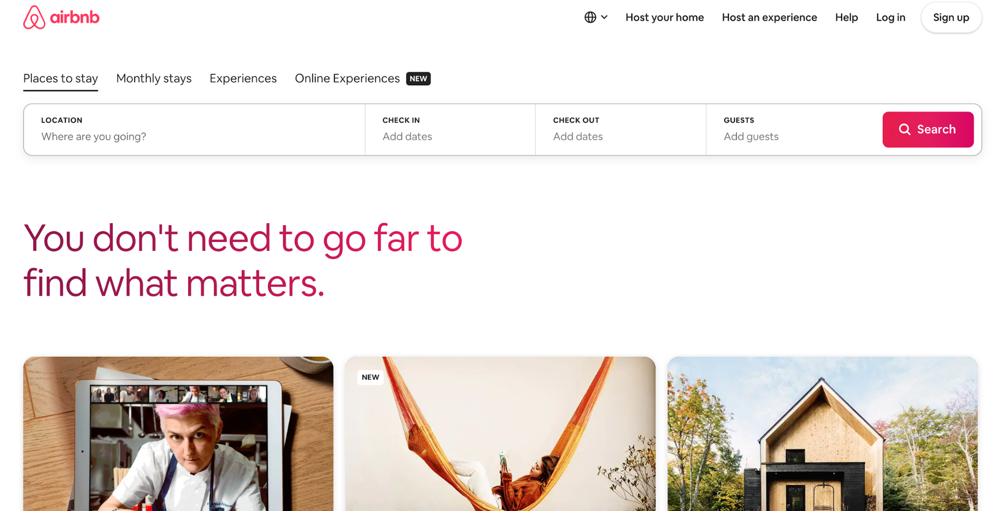 Airbnb's interface