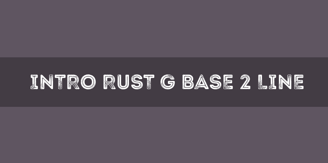 Free font for commercial use. This typeface is Intro Rust G Base 2 Line